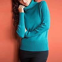 Alpaca blend sweater, 'Teal Temptress' - Alpaca Blend Turtleneck Sweater