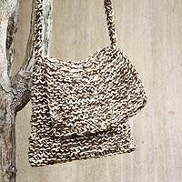 Jute shoulder bag, 'Dunes of Ica' - Artisan Crafted Beige and Brown Jute Knitted Shoulder Bag