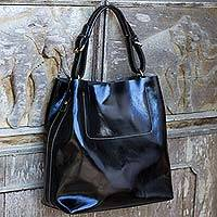 Leather handbag, 'Busy Day in Black' - Artisan Crafted Black Leather Handbag from Thailand