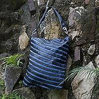 Cotton and recycled bicycle tire shoulder bag, 'Eco Blue Chic' - Cotton and recycled bicycle tire shoulder bag