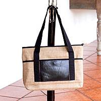 Jute shoulder bag, 'Road Trip' - Handcrafted Jute Shoulder Bag with Recycled Rubber Trim