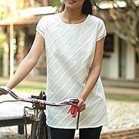 Cotton blouse, 'Grace' - Handcrafted Cotton Blouse