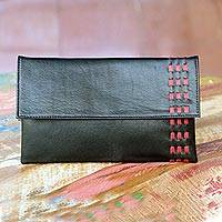 Leather clutch handbag, 'Midnight Scarlet' - Red Accent Black Leather Clutch Handbag from Bali