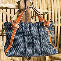 Cotton and leather accent shoulder bag, 'Thai Floral' - Leather Accent Hand Woven Floral Cotton Handbag with Strap