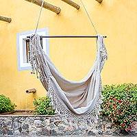Cotton hammock swing, 'Take Me to the Clouds' - Hand Crafted Cotton Hammock Swing from Guatemala