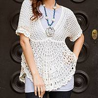 Pima cotton top, 'Arequipa Dancer' - Hand-crocheted Pima Cotton Top from Peru
