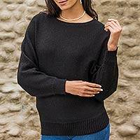 100% alpaca sweater, 'Black Dolman Grace' - Black Alpaca Pullover Dolman Sleeve Sweater for Women