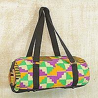 Novica Cotton kente shoulder bag, Glamorous Orange - Kente Cloth and Cotton Shoulder Bag