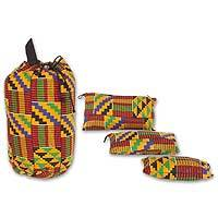 Kente tote bag and accessory cases, 'Ashanti' - Kente tote bag and accessory cases