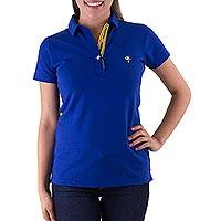 Cotton pique polo shirt, 'Maya Sapphire' - Guatemalan Deep Blue Cotton Pique Polo Shirt for Women
