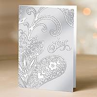 Holiday greeting cards, 'Sterling Paisley' (set of 12) - Global Holiday UNICEF Greeting Cards (Set of 12)