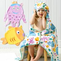 UNICEF Bath Towel and Mitts, 'Marine Life' (set of 3) - Bright Colorful Ocean Creatures Make Bath-time Fun