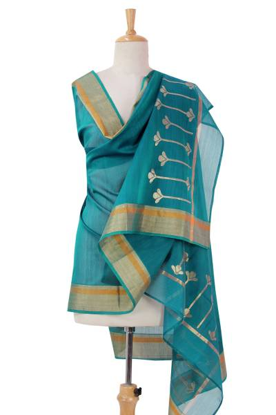 Cotton and silk blend shawl, 'Harmonious Teal' - Teal Shawl in Cotton and Silk Blend with Golden Accents