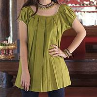 Cotton blouse, 'Olive Green Pleats' - Short Sleeve Blouses from Thailand