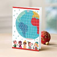 Holiday greeting cards, 'Watercolor Kids' (set of 12) - UNICEF Holiday Cards Boxed Set