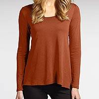 Organic cotton tunic, 'Eco Cognac Relax' - Relaxed Fit Ultra Soft Tunic in 100% Brown Organic Cotton