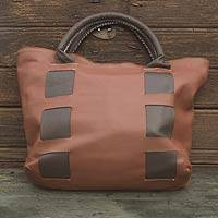 Leather tote handbag, 'Think Big' - Mexican Artisan Crafted Oversize Brown Leather Tote