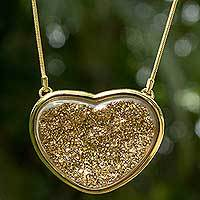 Brazilian drusy agate heart necklace, 'True To You' - Golden Brazilian Drusy Agate Gold Plated Necklace