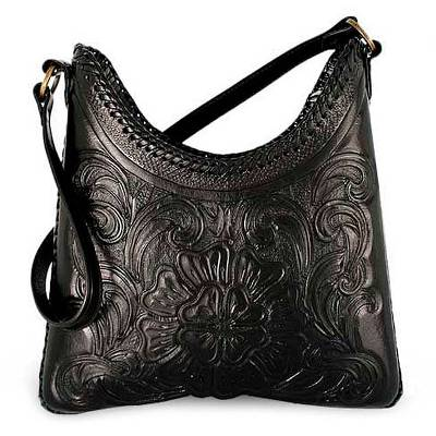Handmade tooled tote Made with flower carved leather top and f6e88f5e8272c