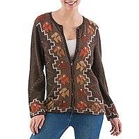 100% alpaca cardigan, 'Nazca Soiree' - Peruvian 100% Alpaca Brown Cardigan with Nazca Birds