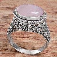 Rose quartz single stone ring, 'Bali Eye in Pink' - Sterling Silver Rose Quartz Single Stone Ring from Indonesia