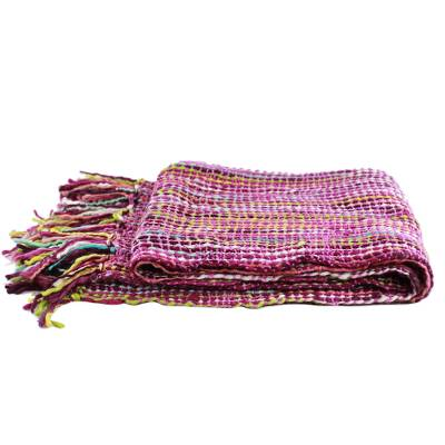 Throw, 'Joyous Amethyst' - Striped Throw Blanket