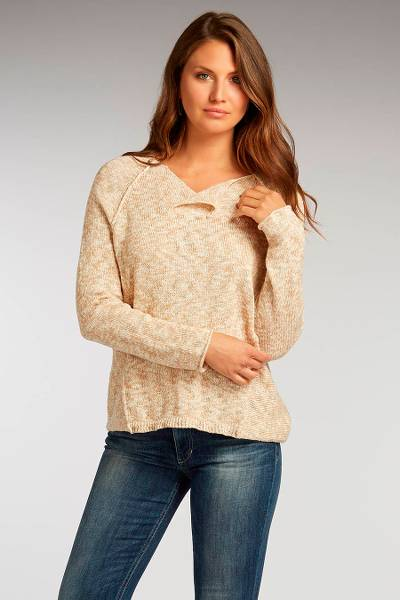 Organic cotton sweater, 'Speckled Turning Leaf' - Undyed 100% Organic Cotton Women's Speckled Beige Sweater