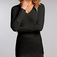 Organic cotton tunic, 'Eco Black Luxe' - V-neck Black Tunic Jersey Top in 100% Organic Cotton