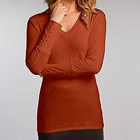 Organic cotton tunic, 'Eco Cognac Luxe' - V-neck Brown Tunic Jersey Top in 100% Organic Cotton