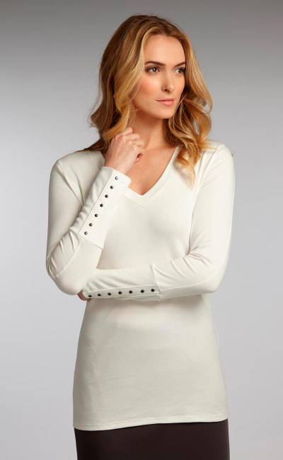 Organic cotton tunic, 'Eco White Luxe' - V-neck White Tunic Jersey Top in 100% Organic Cotton
