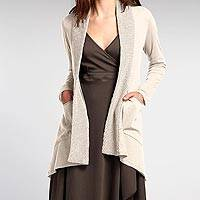 Organic cotton cardigan, 'Zen Sugar' - 100% Organic Cotton Beige Cardigan with Hand-Knit Collar
