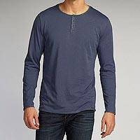 Men's organic cotton shirt, 'Henley Baja' - 100% Organic Cotton Men's Henley Long Sleeve Shirt in Blue