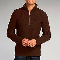 Men's organic cotton sweater, 'Chocolate Elite' - Dark Brown Pullover for Men Cotton Tencel Blend Sweater