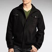 Men's alpaca blend jacket, 'Intrepid Black' - Men's Alpaca Blend Black Jacket with 2 Pockets and Zip Front
