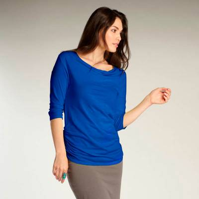 Organic cotton t-shirt, 'Sheer Blue Velvet' - Cobalt Blue Ruched T-shirt for Women in 100% Organic Cotton