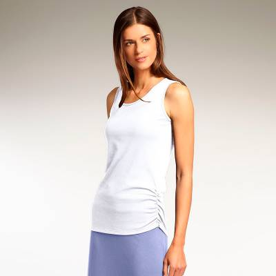 Organic cotton tank top, 'White Luxe' - White Tank Top Ruched Tee in 100% Organic Cotton