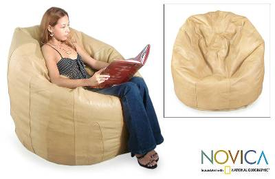 Leather beanbag chair cover, 'Buff Caress' (single) - Leather beanbag chair cover (Single)