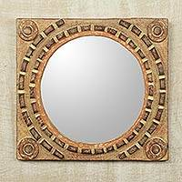 Mirror, 'African Tradition' - Rustic Wood Wall Mirror