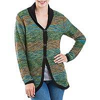 100% alpaca cardigan, 'Green Diamonds' - 100% Alpaca Wool Cardigan with Buttons from Peru