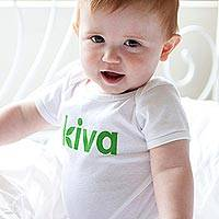 Kiva 100% cotton onesie, 'Kiva Baby' - 100% cotton infant one piece