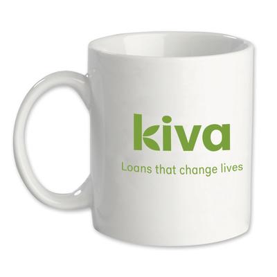 White ceramic Kiva mug, 'Comfort' - White ceramic Kiva logo mug