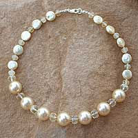 Pearl and citrine beaded necklace, 'Oriental Sun' - Pearl and citrine beaded necklace