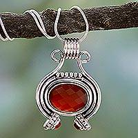Carnelian pendant necklace, 'Desire' (16 inch) - Sterling Silver and Carnelian Necklace (16 Inch)