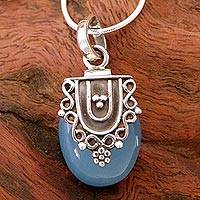 Sterling silver pendant necklace, 'Morning Dew' (16 inch) - 16 Inch Sterling Silver and Chalcedony Pendant Necklace