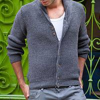 Men's alpaca blend cardigan, 'Jirishanca in Gray' - Men's alpaca blend cardigan