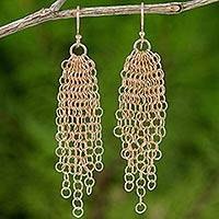Rose gold plated chandelier earrings, 'Chain Mail Rain' - Rose Gold Plated Silver Chain Mail Chandelier Hook Earrings