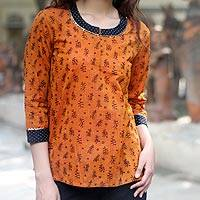 Cotton blouse, 'Autumn Elegance' - Cotton Blouse in Orange with Block Print