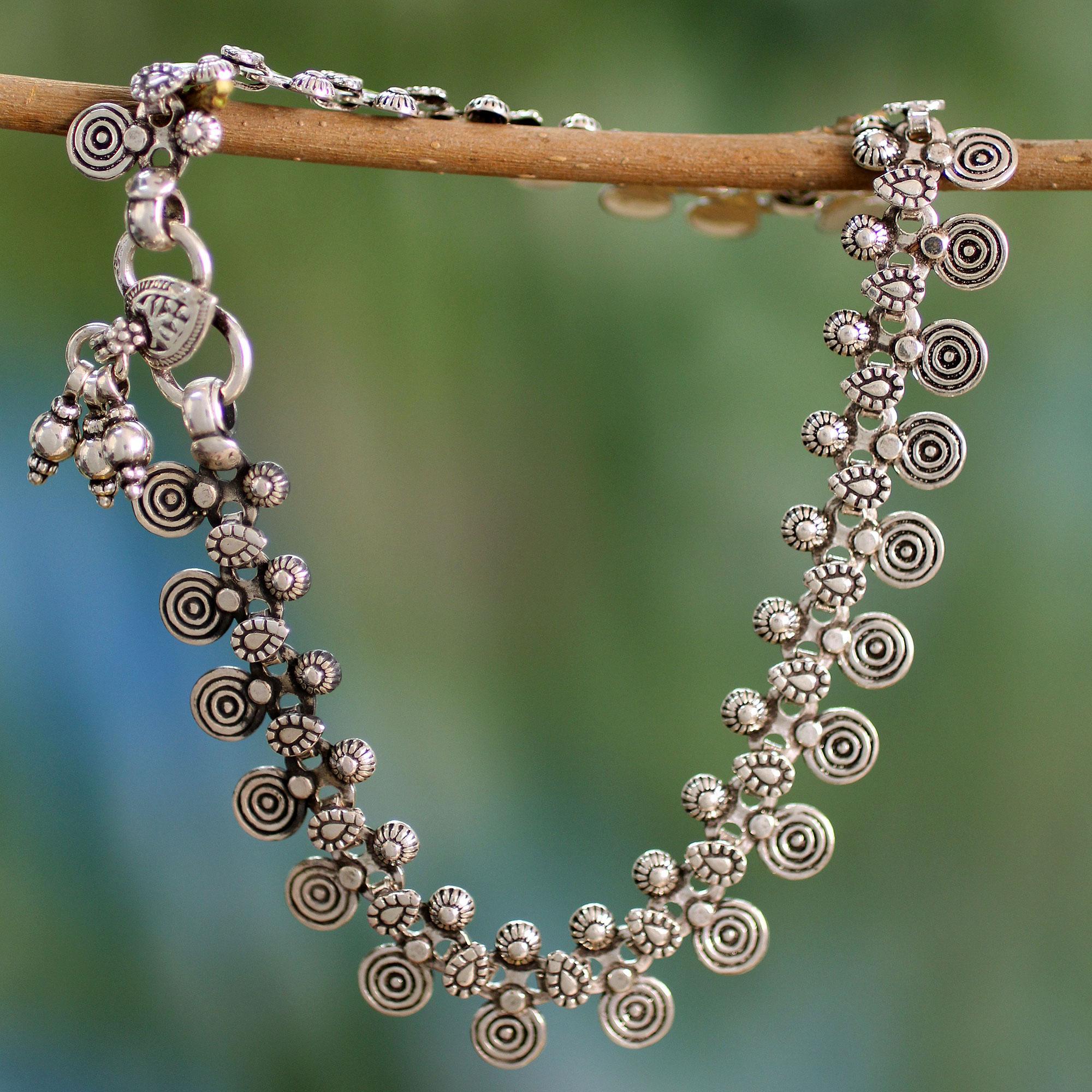 Sterling Silver Charm Anklet Indian Jewelry - Jaipur Dancer   NOVICA