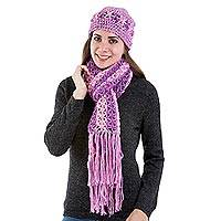100% alpaca scarf and hat set, 'Sweet Daisies' - Alpaca Hat & Scarf Set Crocheted by Hand in Pink and Lilac