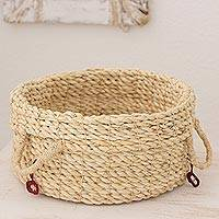 Maguey fiber basket, 'Red Ecology' - Artisan Crafted Maguey Fiber Basket from Central America